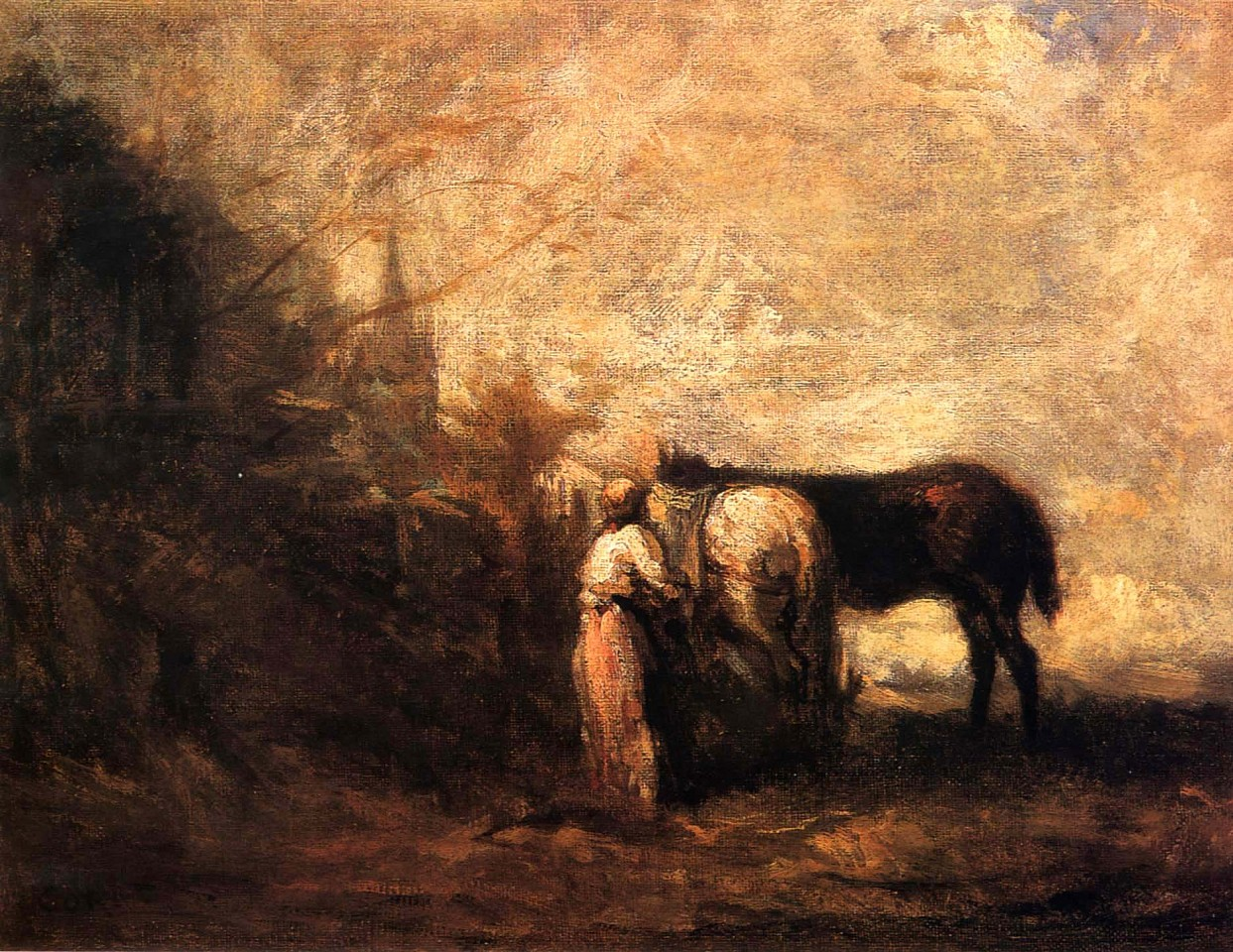 Jean Baptiste Camille Corot ,   Les Chevaux de Wouvermans  ,  1872-74     Oil on canvas ,  10 1/4 x 13 3/8 in. (26 x 34 cm)     COR-004-PA