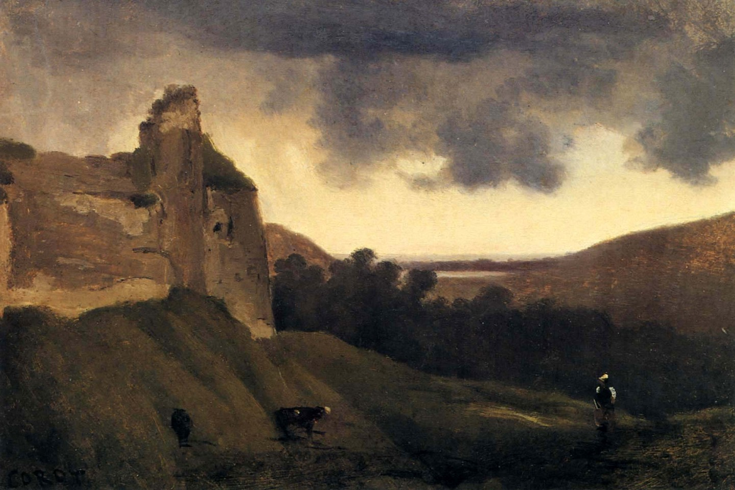 Jean Baptiste Camille Corot ,   Argues-Ruines du Chateau  ,  1828-30     Oil on canvas ,  8 1/4 x 12 1/4 in. (21 x 31.1 cm)     COR-005-PA