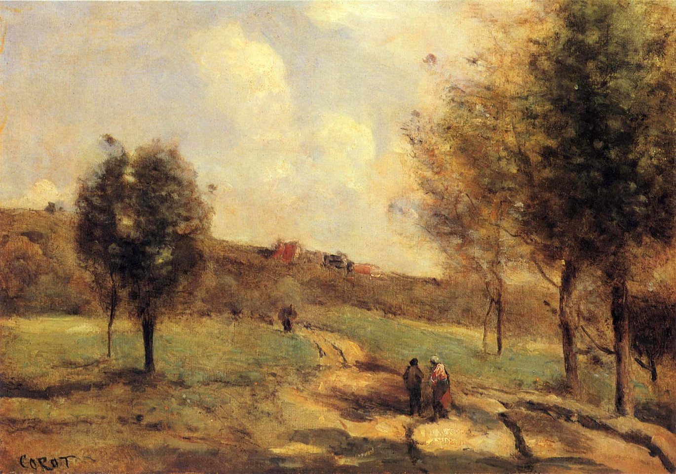 Jean Baptiste Camille Corot ,   Coubron - Route Montante  ,  ca. 1870     Oil on canvas ,  10 x 14 in. (25.4 x 35.6 cm)     COR-007-PA