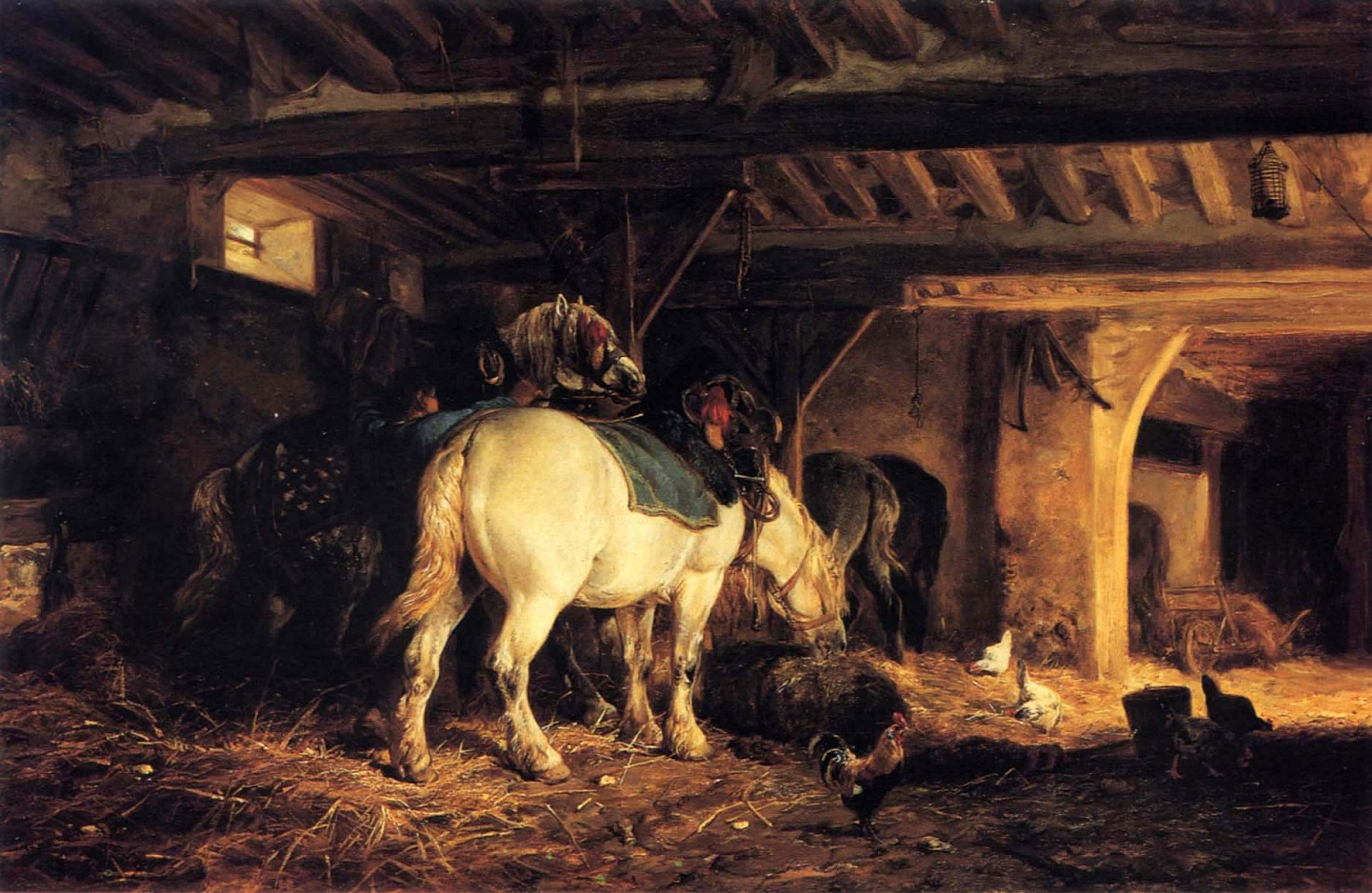 Charles Emile Jacque ,   In the Stable  ,  ca. 1873-75     Oil on canvas ,  19 1/2 x 29 1/2 in. (49.5 x 74.9 cm)     JAC-003-PA