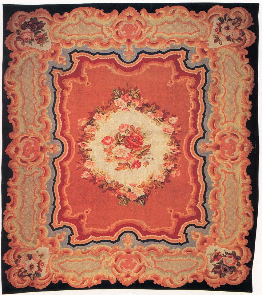 19th Century FRENCH ,   Aubusson Carpet, France  ,  ca. 1875-1900     Wool ,  125 1/4 x 144 1/8 in. (318 x 366 cm)     FRE-007